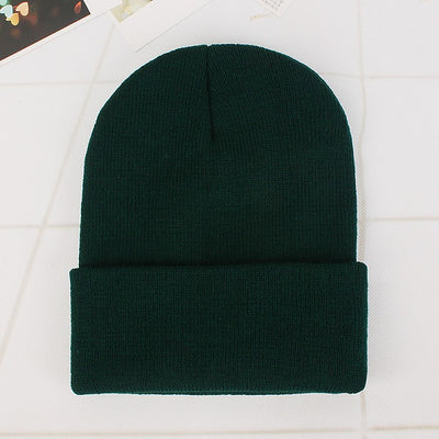 Women Beanie Caps Solid Colors Blackish green Cap - Women Socks & More | MegaMallExpress.com