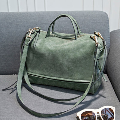 Women Vintage Faux Leather Shoulder Bags green / 33 x 13 x 23 cm - Women Handbags & Purses | MegaMallExpress.com