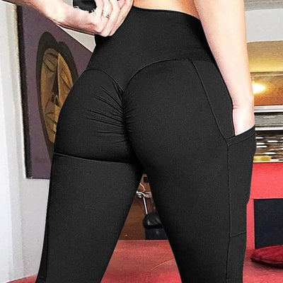 Women High Waisted Leggings with Pockets Pocket Black / XL - Women Bottoms | MegaMallExpress.com