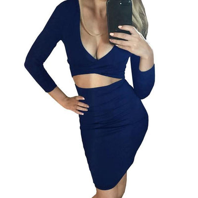 Women Bodycon Bandage Below the Knee Dress Navy Blue / XL - Women Dresses | MegaMallExpress.com