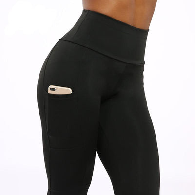 Women High Waisted Leggings with Pockets Pocket Black / S - Women Bottoms | MegaMallExpress.com