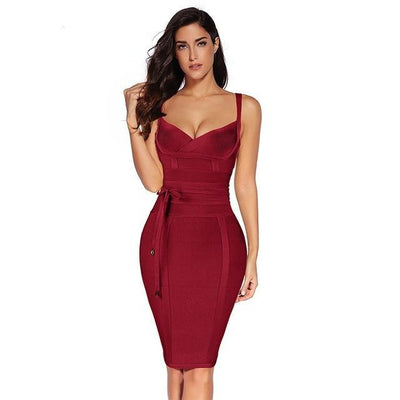 Women Sleeveless Bandage Dress Wine red / XS - Women Dresses | MegaMallExpress.com
