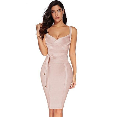 Women Sleeveless Bandage Dress Nude / XS - Women Dresses | MegaMallExpress.com