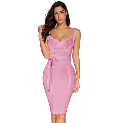 Women Sleeveless Bandage Dress Pink / XS - Women Dresses | MegaMallExpress.com