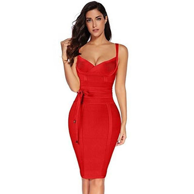 Women Sleeveless Bandage Dress Red / XS - Women Dresses | MegaMallExpress.com