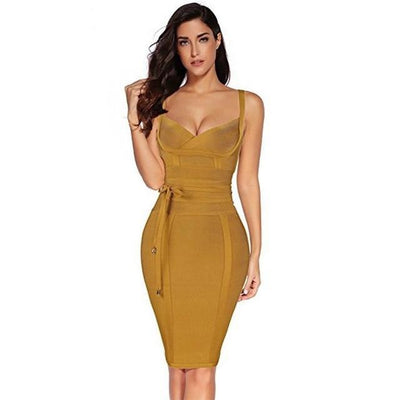 Women Sleeveless Bandage Dress Ginger / XS - Women Dresses | MegaMallExpress.com