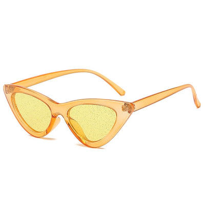Women Fashion Cat Eye Sunglasses Yellow Glitter - Women Sunglasses | MegaMallExpress.com