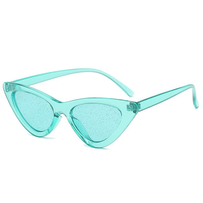 Women Fashion Cat Eye Sunglasses Green Glitter - Women Sunglasses | MegaMallExpress.com