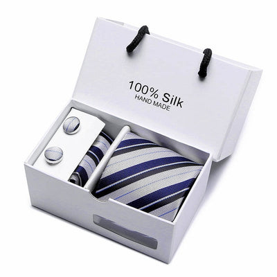 Matching Tie and Pocket Square Set Blue/Gray SB05 - Men Ties & Accessories | MegaMallExpress.com