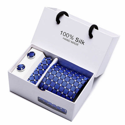 Matching Tie and Pocket Square Set Blue SB17 - Men Ties & Accessories | MegaMallExpress.com