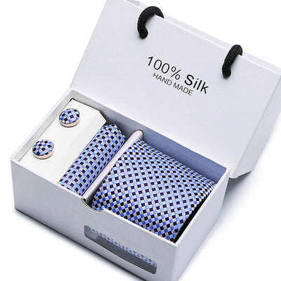 Matching Tie and Pocket Square Set Blue SB23 - Men Ties & Accessories | MegaMallExpress.com