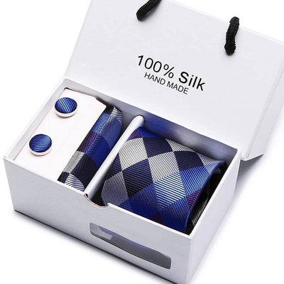 Matching Tie and Pocket Square Set Blue SB27 - Men Ties & Accessories | MegaMallExpress.com