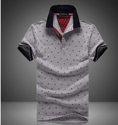 Men's Printed Polo T-Shirts Grey / 5XL - Men Tops & Tees | MegaMallExpress.com