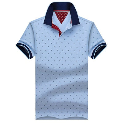 Men's Printed Polo T-Shirts Light Blue / 5XL - Men Tops & Tees | MegaMallExpress.com