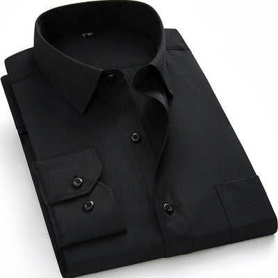 Men's Business Casual Long Sleeve Plus Size Shirt BS1215 / 8XL - Men Shirts | MegaMallExpress.com
