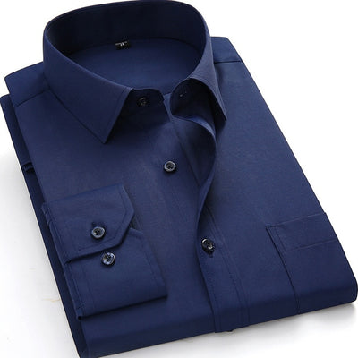 Men's Business Casual Long Sleeve Plus Size Shirt BS1213 / 8XL - Men Shirts | MegaMallExpress.com