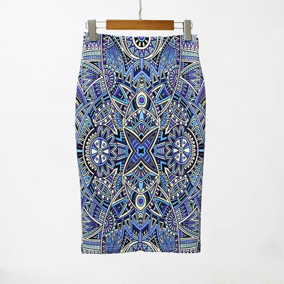 Women Print Stretch Pencil Skirt Blue/White/Black / XXL - Women Bottoms | MegaMallExpress.com