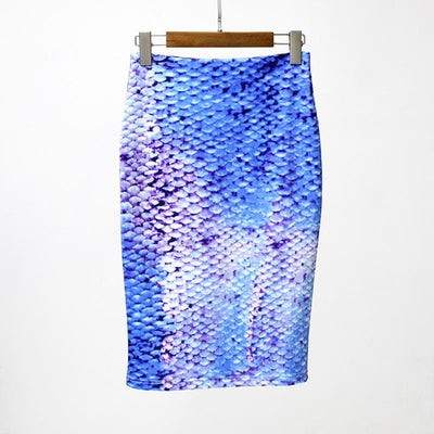 Women Print Stretch Pencil Skirt Blue / XXL - Women Bottoms | MegaMallExpress.com