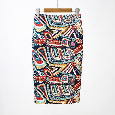 Women Print Stretch Pencil Skirt Yellow/Red/White / XXL - Women Bottoms | MegaMallExpress.com