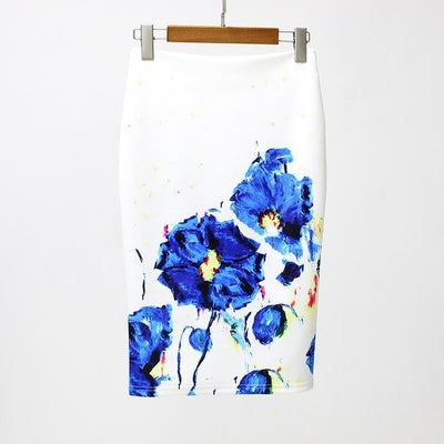 Women Print Stretch Pencil Skirt White/Blue / XXL - Women Bottoms | MegaMallExpress.com