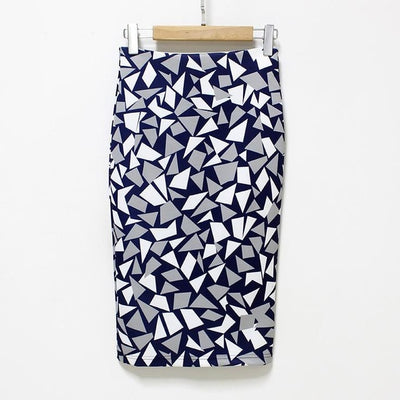 Women Print Stretch Pencil Skirt Navy/White/Gray / XXL - Women Bottoms | MegaMallExpress.com
