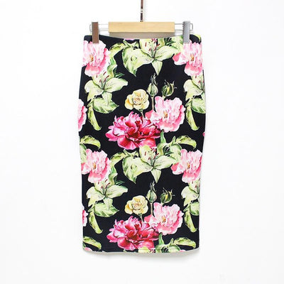 Women Print Stretch Pencil Skirt Black/Red/Pink / XXL - Women Bottoms | MegaMallExpress.com