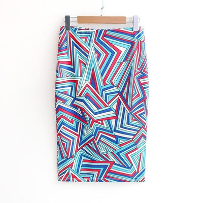 Women Print Stretch Pencil Skirt Turquoise/Red/White / XXL - Women Bottoms | MegaMallExpress.com