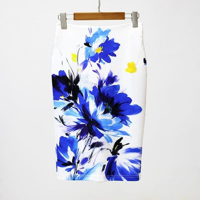 Women Print Stretch Pencil Skirt White/Blue/Yellow / XXL - Women Bottoms | MegaMallExpress.com