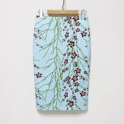 Women Print Stretch Pencil Skirt Turquoise/Green / XXL - Women Bottoms | MegaMallExpress.com