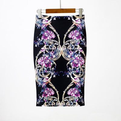 Women Print Stretch Pencil Skirt Black/Violet / XXL - Women Bottoms | MegaMallExpress.com
