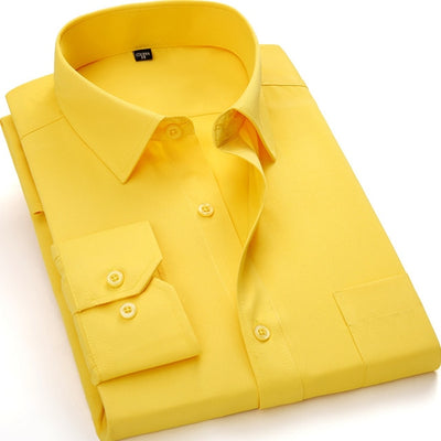 Men's Business Casual Long Sleeve Plus Size Shirt BS1203 / 8XL - Men Shirts | MegaMallExpress.com