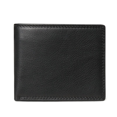 Men Vintage Leather Wallet with Coin Pocket Black Plain Wallet - Men Wallets | MegaMallExpress.com