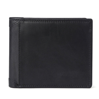 Men Vintage Leather Wallet with Coin Pocket BlackPatchworkPurse - Men Wallets | MegaMallExpress.com