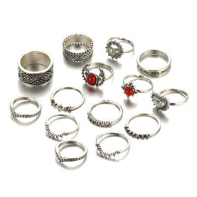 Retro Flower Knuckle Rings Silver RJCS180 - Casual Rings | MegaMallExpress.com