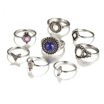 Retro Flower Knuckle Rings Silver RJCS454 - Casual Rings | MegaMallExpress.com