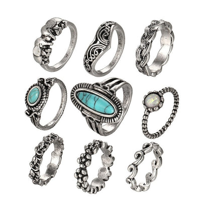 Retro Flower Knuckle Rings Silver RJCS460 - Casual Rings | MegaMallExpress.com