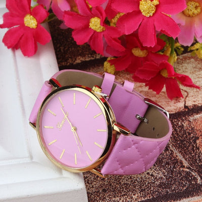 Unisex Faux Leather Large Face Watch Pink - Women Watches | MegaMallExpress.com