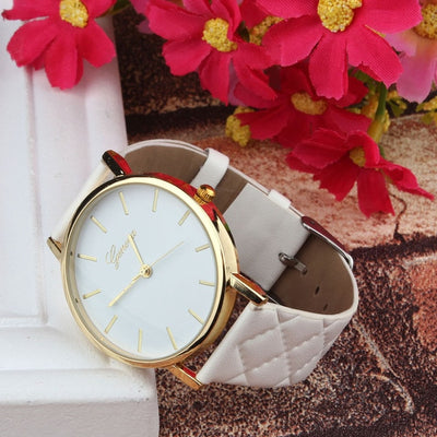 Unisex Faux Leather Large Face Watch White - Women Watches | MegaMallExpress.com
