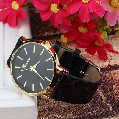 Unisex Faux Leather Large Face Watch Black - Women Watches | MegaMallExpress.com