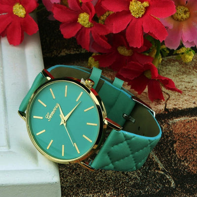 Unisex Faux Leather Large Face Watch Green - Women Watches | MegaMallExpress.com