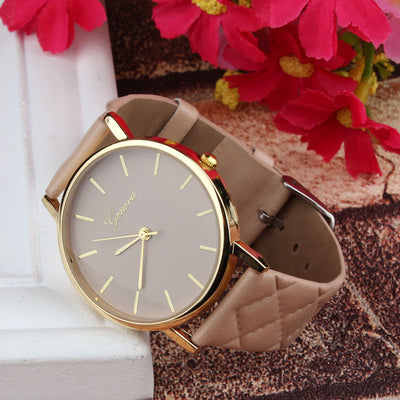 Unisex Faux Leather Large Face Watch Khaki - Women Watches | MegaMallExpress.com