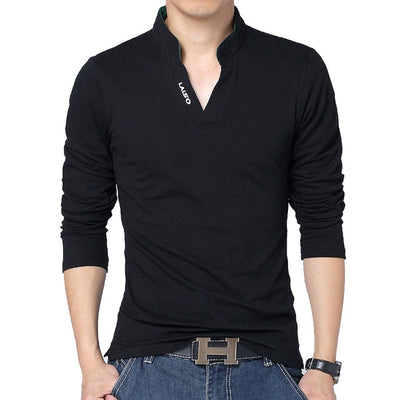 Men's Long Sleeve Polo Long Black / 5XL - Men Tops & Tees | MegaMallExpress.com