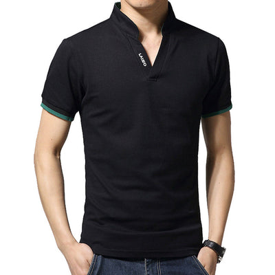 Men's Long Sleeve Polo Short Black / 5XL - Men Tops & Tees | MegaMallExpress.com