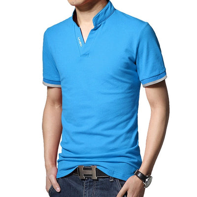 Men's Long Sleeve Polo Short Blue / 5XL - Men Tops & Tees | MegaMallExpress.com