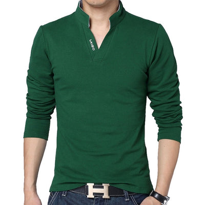 Men's Long Sleeve Polo Long Green / 5XL - Men Tops & Tees | MegaMallExpress.com