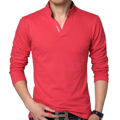 Men's Long Sleeve Polo Long Red / 5XL - Men Tops & Tees | MegaMallExpress.com