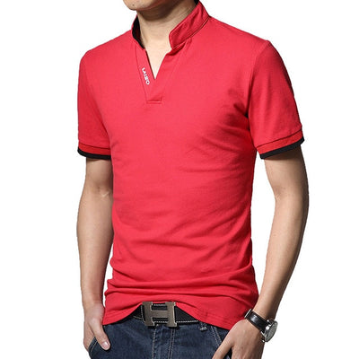 Men's Long Sleeve Polo Short Red / 5XL - Men Tops & Tees | MegaMallExpress.com