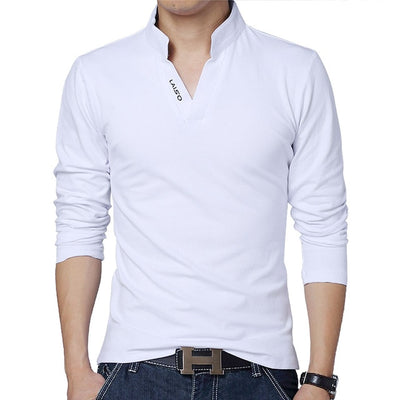 Men's Long Sleeve Polo Long White / 5XL - Men Tops & Tees | MegaMallExpress.com