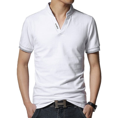 Men's Long Sleeve Polo Short White / 5XL - Men Tops & Tees | MegaMallExpress.com