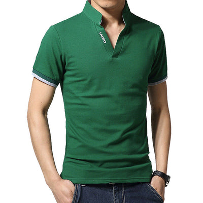 Men's Long Sleeve Polo Short Green / 5XL - Men Tops & Tees | MegaMallExpress.com
